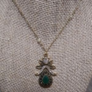 Vintage Turkish Gold Emerald/Marcasite/CZ necklace
